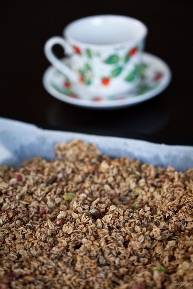 Granola de fresa, coco y pistacho