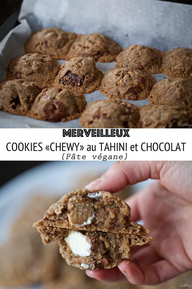 Cookies vegans et chewy au tahini et chocolat