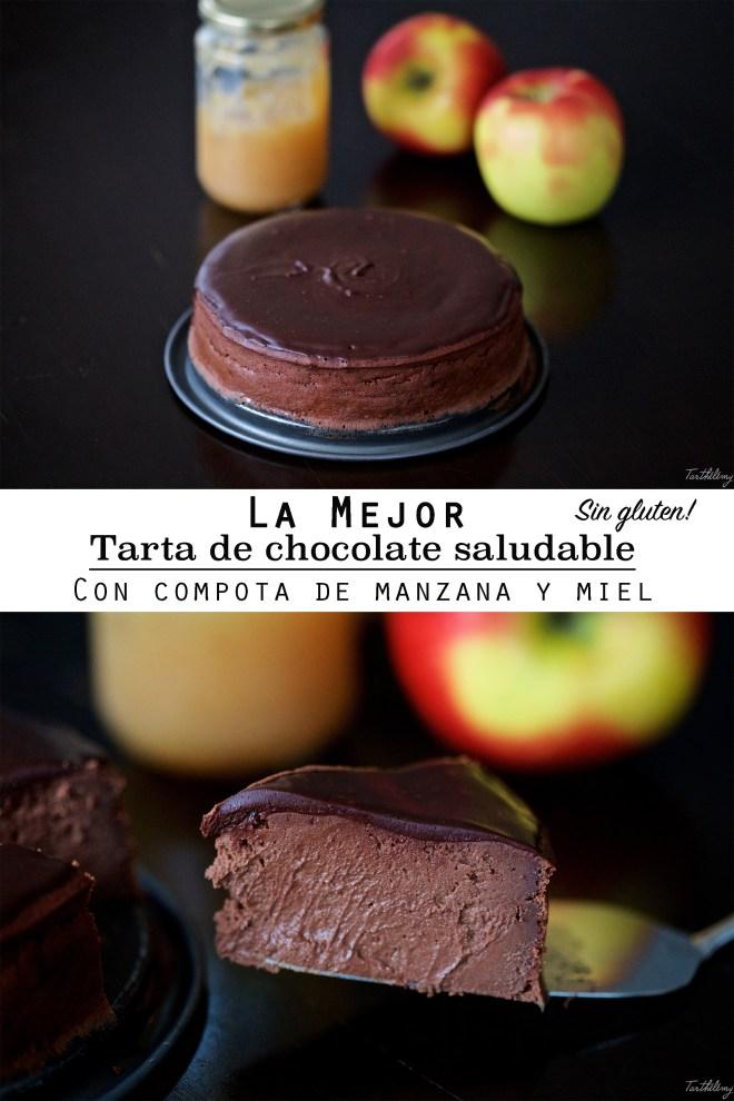 La mejor tarta de chocolate saludable, con compota de manzana y miel