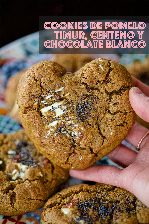 Cookies de pomelo, timur, centeno y chocolate blanco