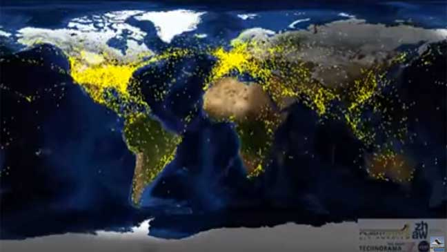 فيديو مدته دقيقة.. حركة الطائرات حول العالم في 24 ساعة!