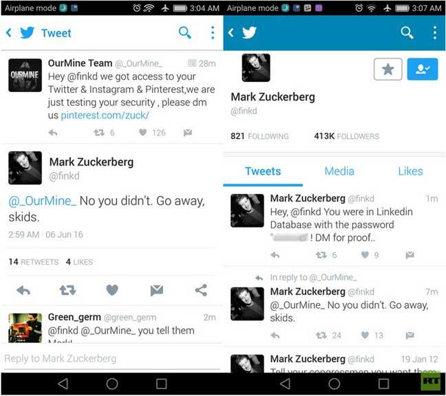 اختراق الهاكرز لحسابات مارك زوكربرغ على الشبكات الاجتماعية