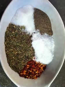 Seasonings I used. Clockwise from top: Sugar, Black Pepper, Salt, Red Pepper Flakes, Italian Seasoning Blend