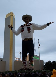 Big Tex. He burned down last year due to an electrical fire. This is a new iteration of him. The video of him burning last year is on YouTube.