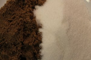 Dark brown and granulated sugars.