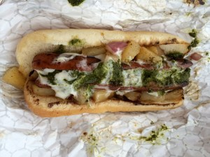The El Pastor: Red Onion, Pineapple, Cilantro Pesto, Lime Mayo.