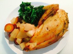 DInner: Citrus Chicken, Honey Braised Turnips & Carrots, Sauteed Turnip Greens.