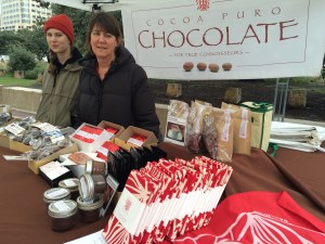The chocoalte bars came from Cocoa Puro Chocolate. These poor ladies were freezing.