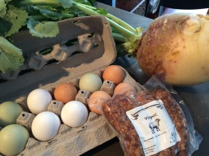 Purchases, Part 1: Eggs and Rutabaga from Yard to Market Co-Op; Merguez from Countryside Farms