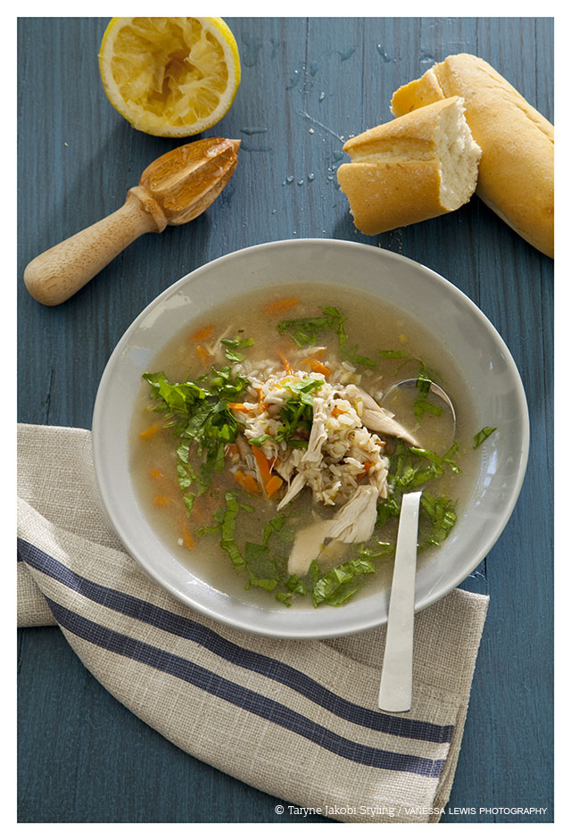My new favourite soup! Clear chicken & lemon veggie soup with brown rice