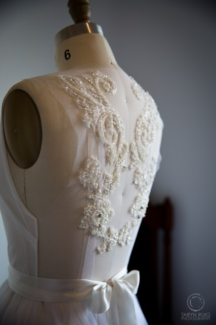 beading on back of wedding gown