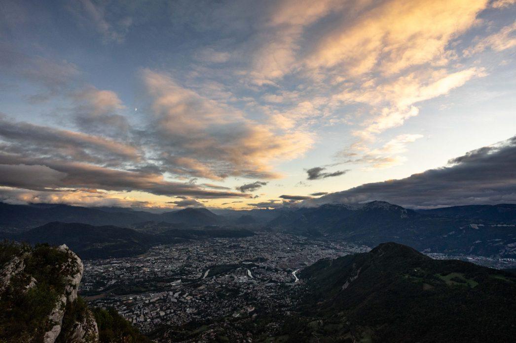 Coucher de soleil sur Grenoble depuis le fort Saint Eynard