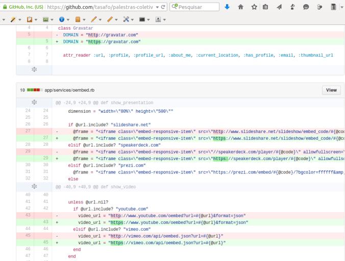 Mudanças realizadas na aplicaçao web para se adequar ao mínimo de segurança via HTTPS
