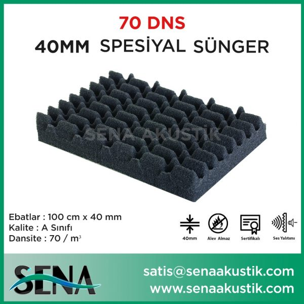 40mm Akustik Yanmaz Spesiyal Sünger 70 Dansite