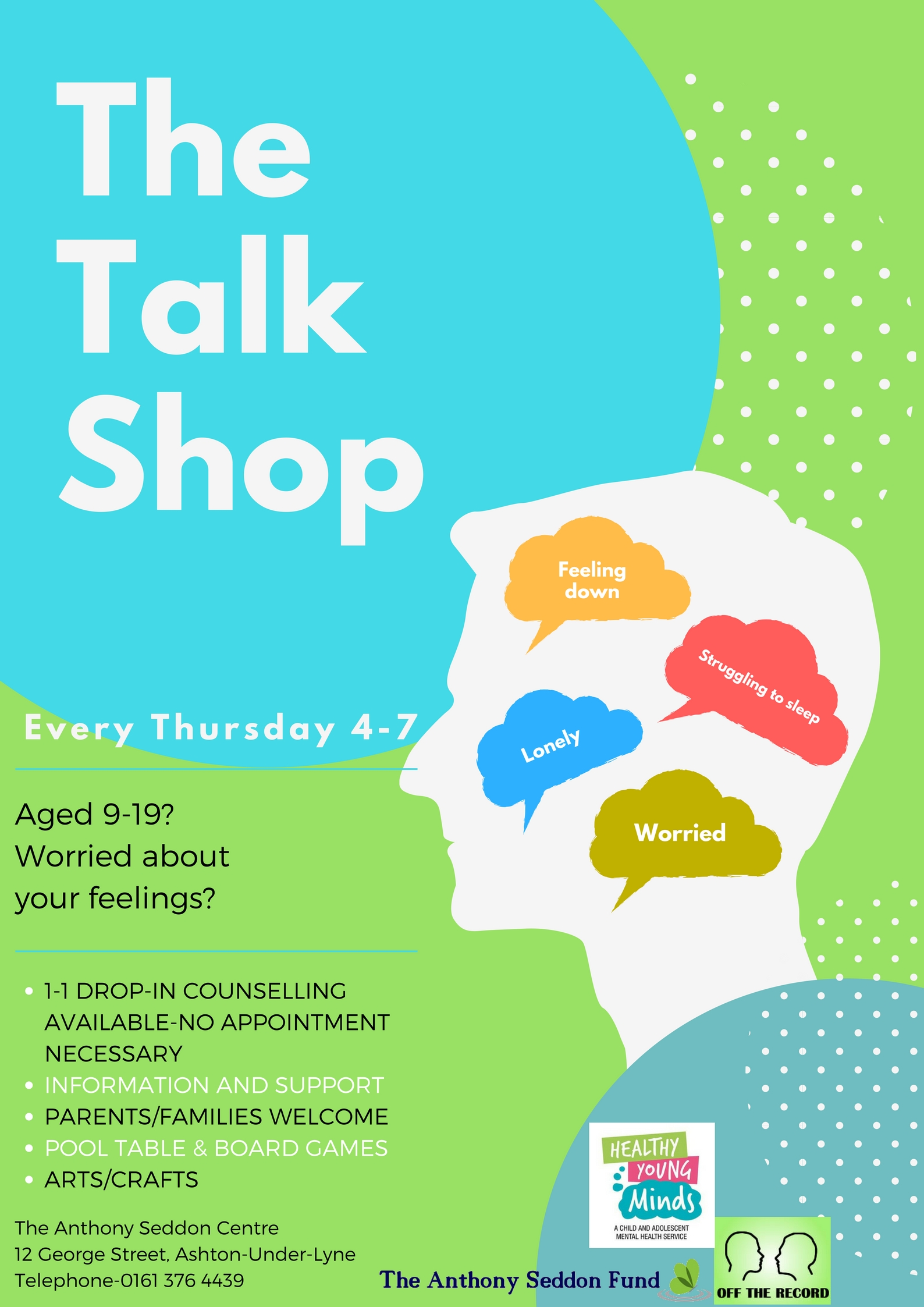 The Talk Shop - Support for 9-19 Year Olds - Advertisement Poster