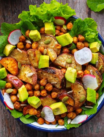 Roasted Sweet Potato & Chickpea Salad vegan glutenfree healthy recipe