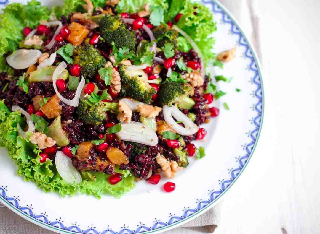 Warm Black Rice Broccoli Pumpkin Salad vegan, healthy, glutenfree, Thanksgiving, Christmas, Easy entertaining