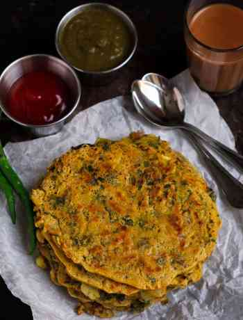 Besan Cheela w/ Purslane served with Raw Mango Mint Chutney And Tomato Ketchup brunch vegan, healthy, glutenfree