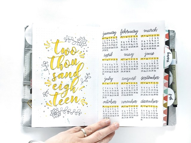 Free printable 2019 year at a glance calendar. Print and trace into your bullet journal, cut in half and use in your planner, use it as a coloring page! Easy!