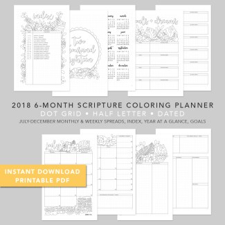 2018 6 Month Scripture Coloring Planner Spiral Light Cover Tasha