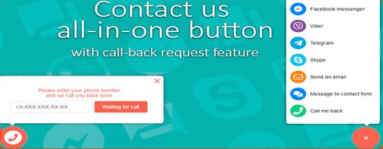 Contact us all in one button with callback request feature plugin