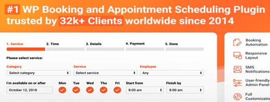 Bookly Appointment Booking and Scheduling Software plugin