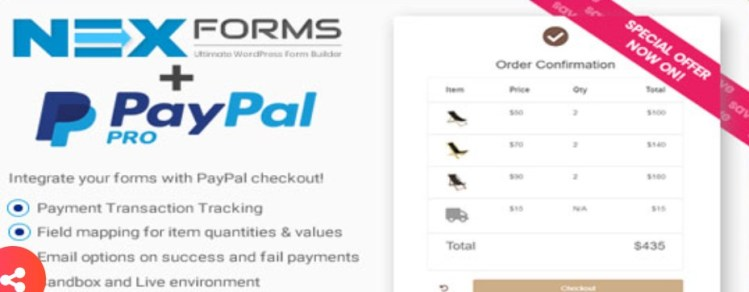 PayPal for NEX Forms plugin