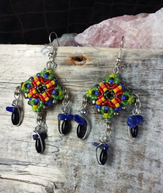 Patience in Bloom Drop Earrings Multi-Colored