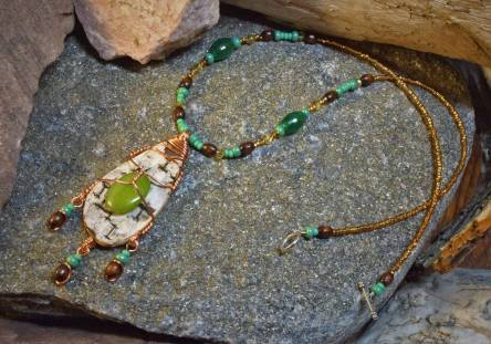 Birchbark & Stone Forest Necklace