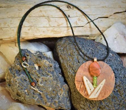 Cattail Birchbark & Stone Necklace