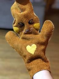 Waabooz Hand Puppet in Mooz & Deer Hide, Beads