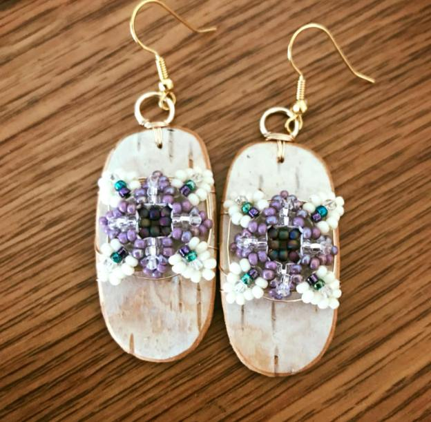 Birch Bark & Patience in Bloom Earrings in Purple, Teal