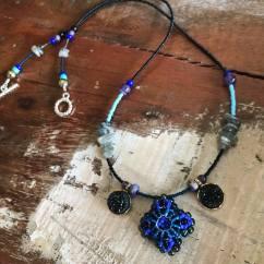 Blue Patience in Bloom Necklace with Labradorite & Druzy, Amethyst