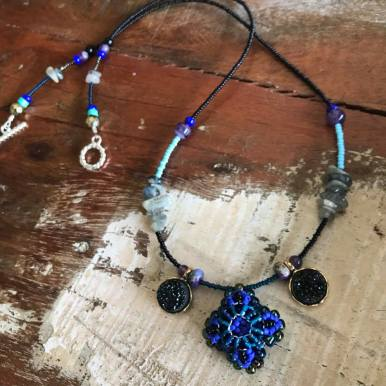 Blue Patience in Bloom Necklace with Labradorite & Druzy, Amethyst