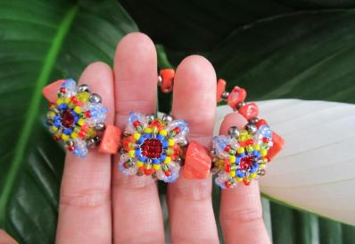 Patience in Bloom Bracelet in Coral Multi