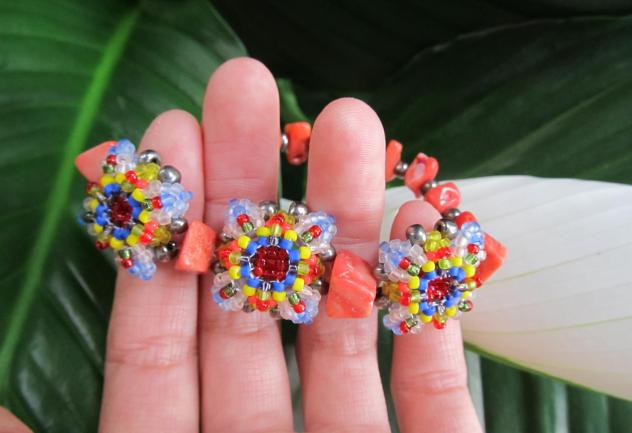 Patience in Bloom Bracelet in Coral Multi