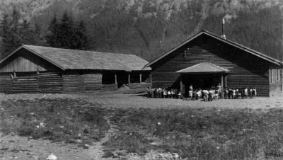 School & woodshed. University of British Columbia Archives, Margaret Sage fonds (UBC 39.1/60)
