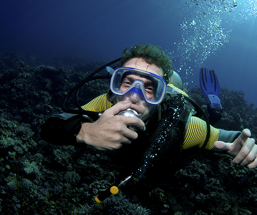 Diver using diving gear