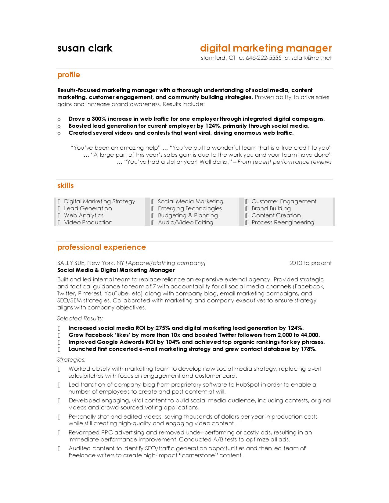 Summary For Marketing Resume Best Marketing Resumes Task List Templates