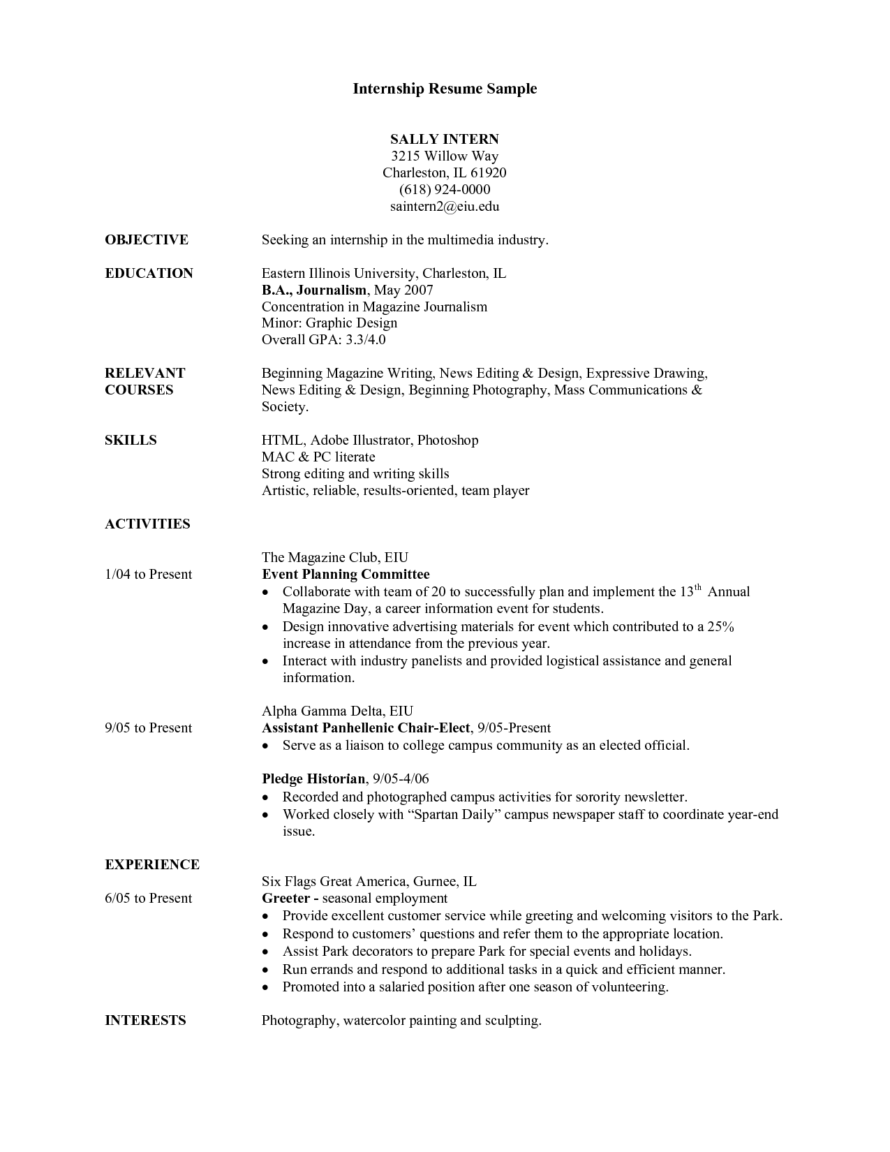 College Student Resume For Internship Task List Templates