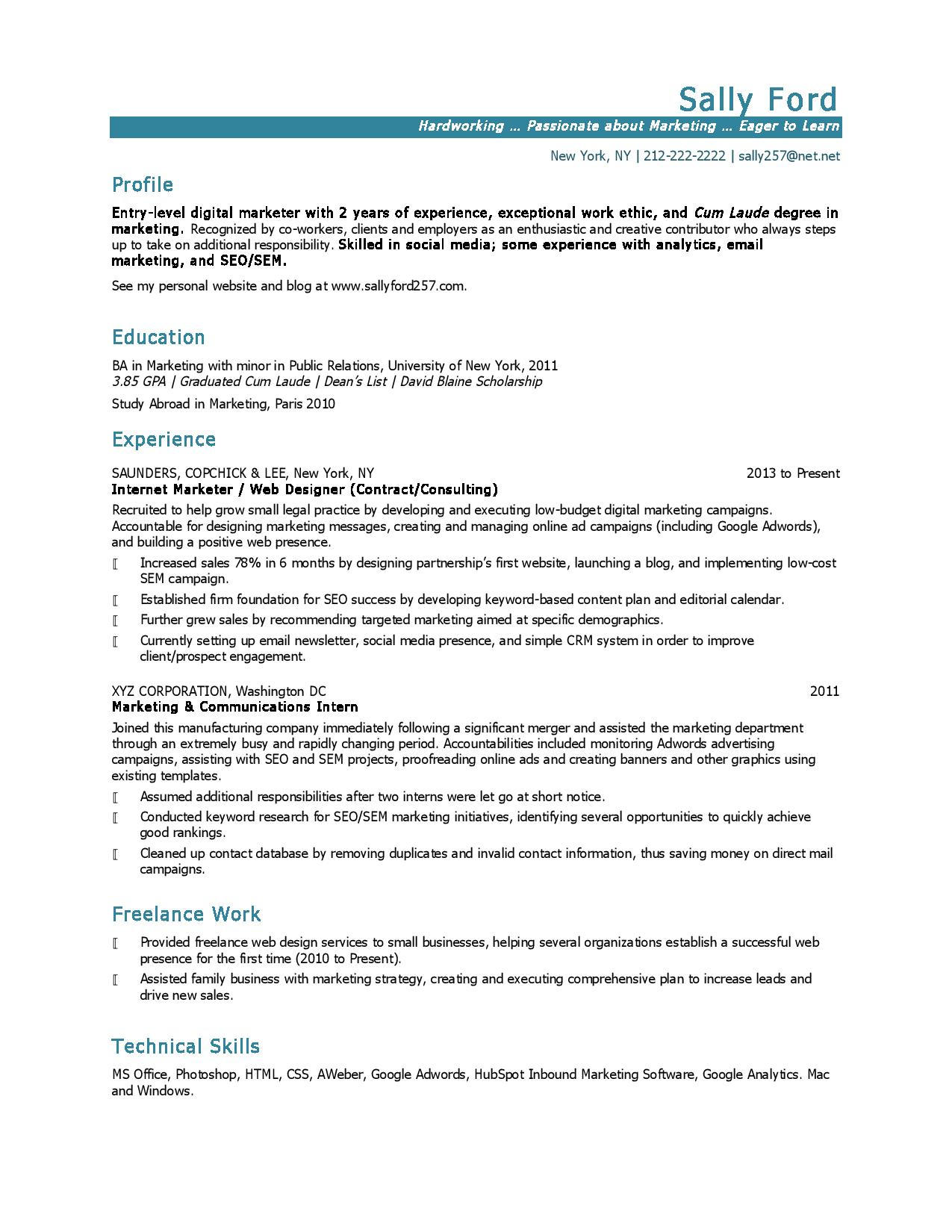 Entry Level Marketing Resume Samples Entry Level Marketing Resume Task List Templates