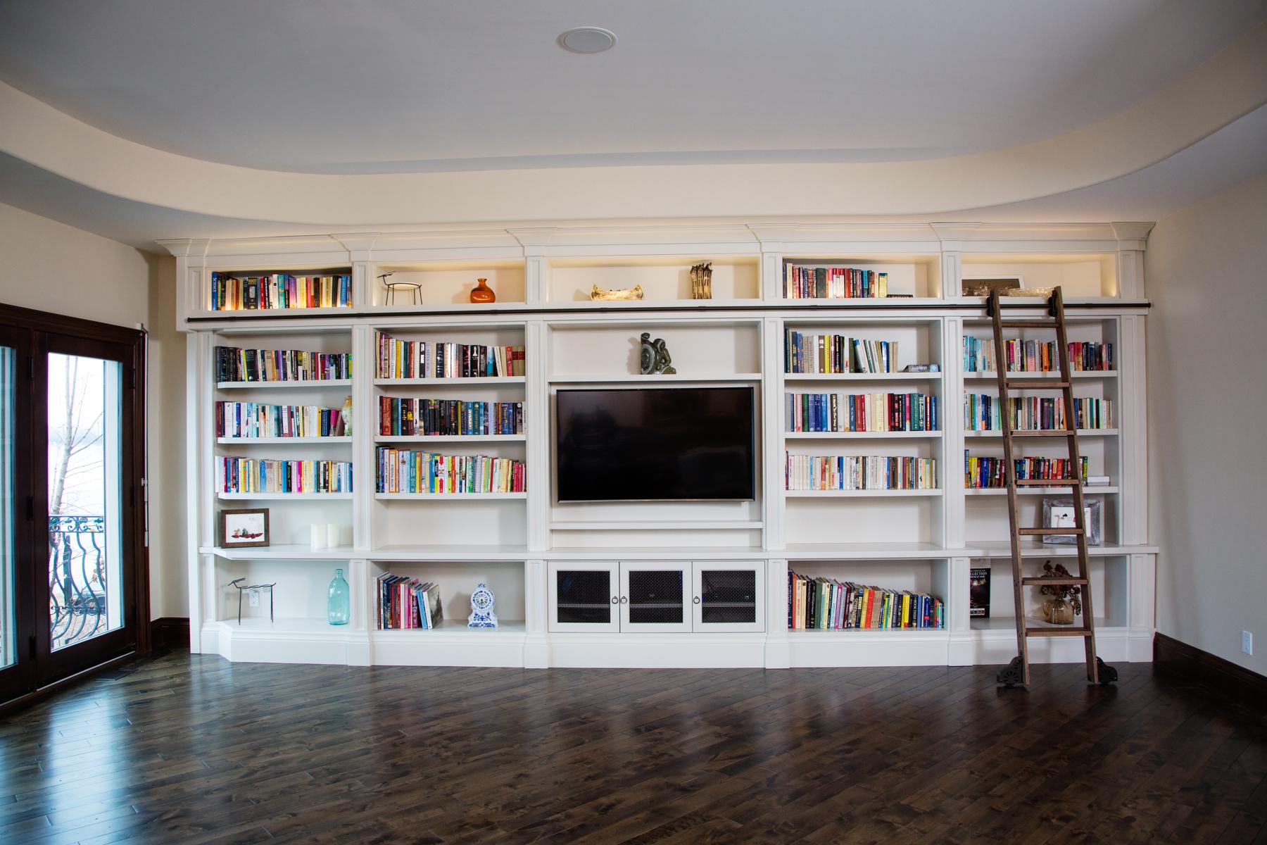 Built In Shelving Library Tasse Design Build Barrie