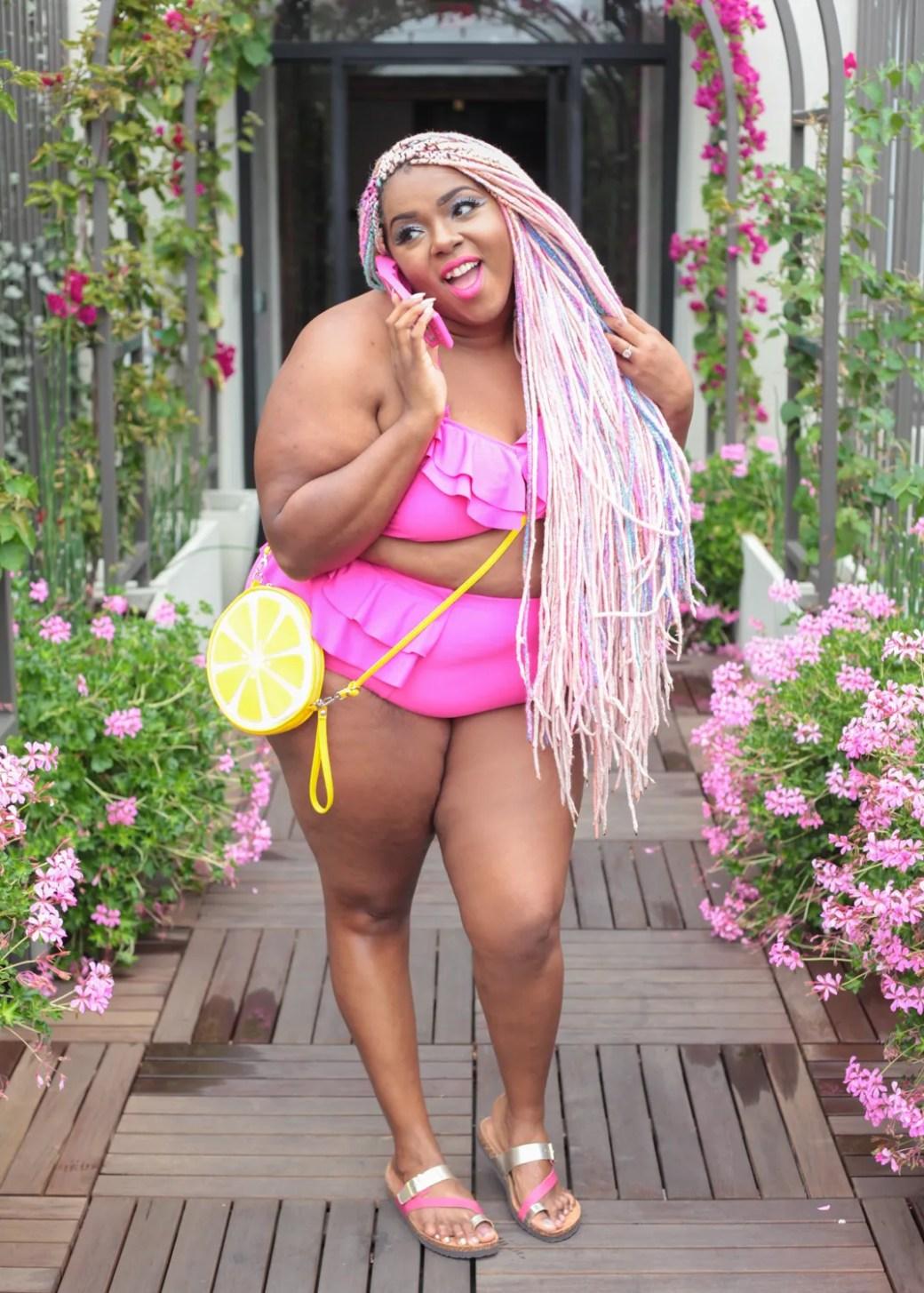 Amina hot pink ruffle bikini