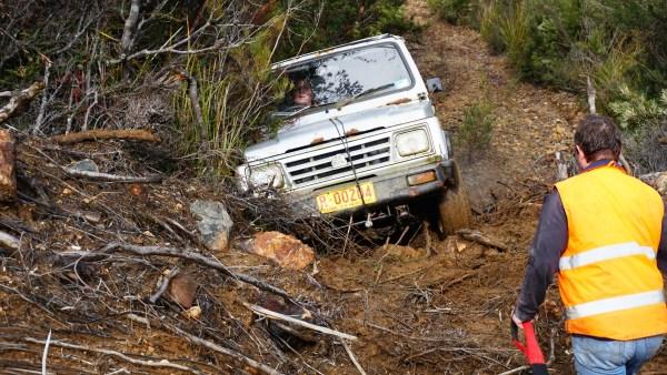 Crossing Landslide - Lord Brassey Mine Trip