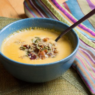 Apple and Brie Soup with Pumpkin Bacon Granola | Taste and Tipple