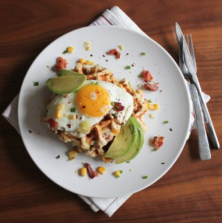 Cheesy Bacon and Corn Waffles with Eggs and Avocado