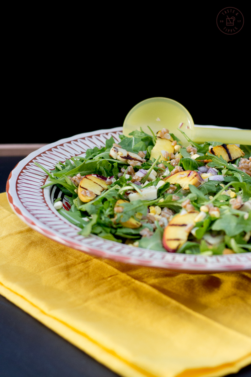Grilled Summer Farro Salad with Cilantro Lime Dressing | Taste and Tipple