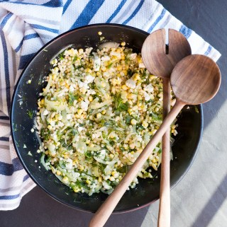Herbed Israeli Couscous Salad with Corn and Feta | Taste and Tipple