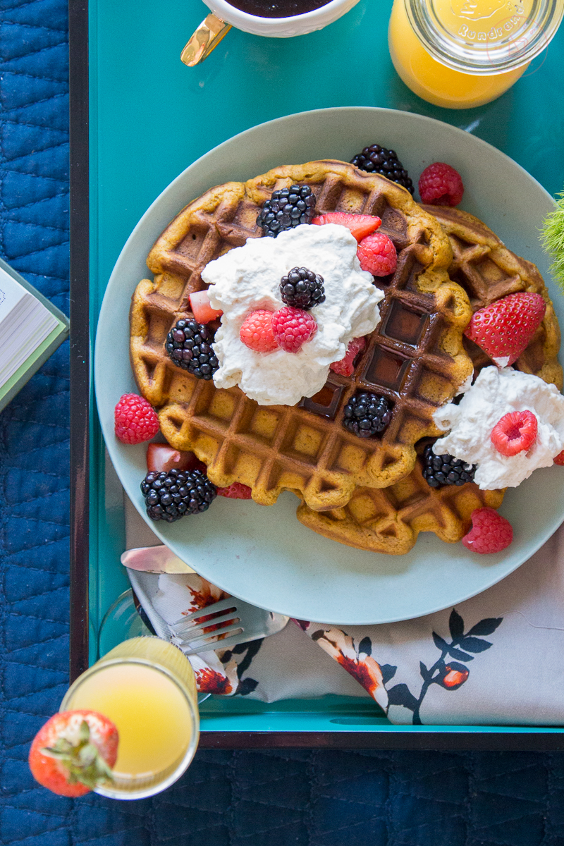 Breakfast in Bed with Gingerbread Waffles | Taste and Tipple