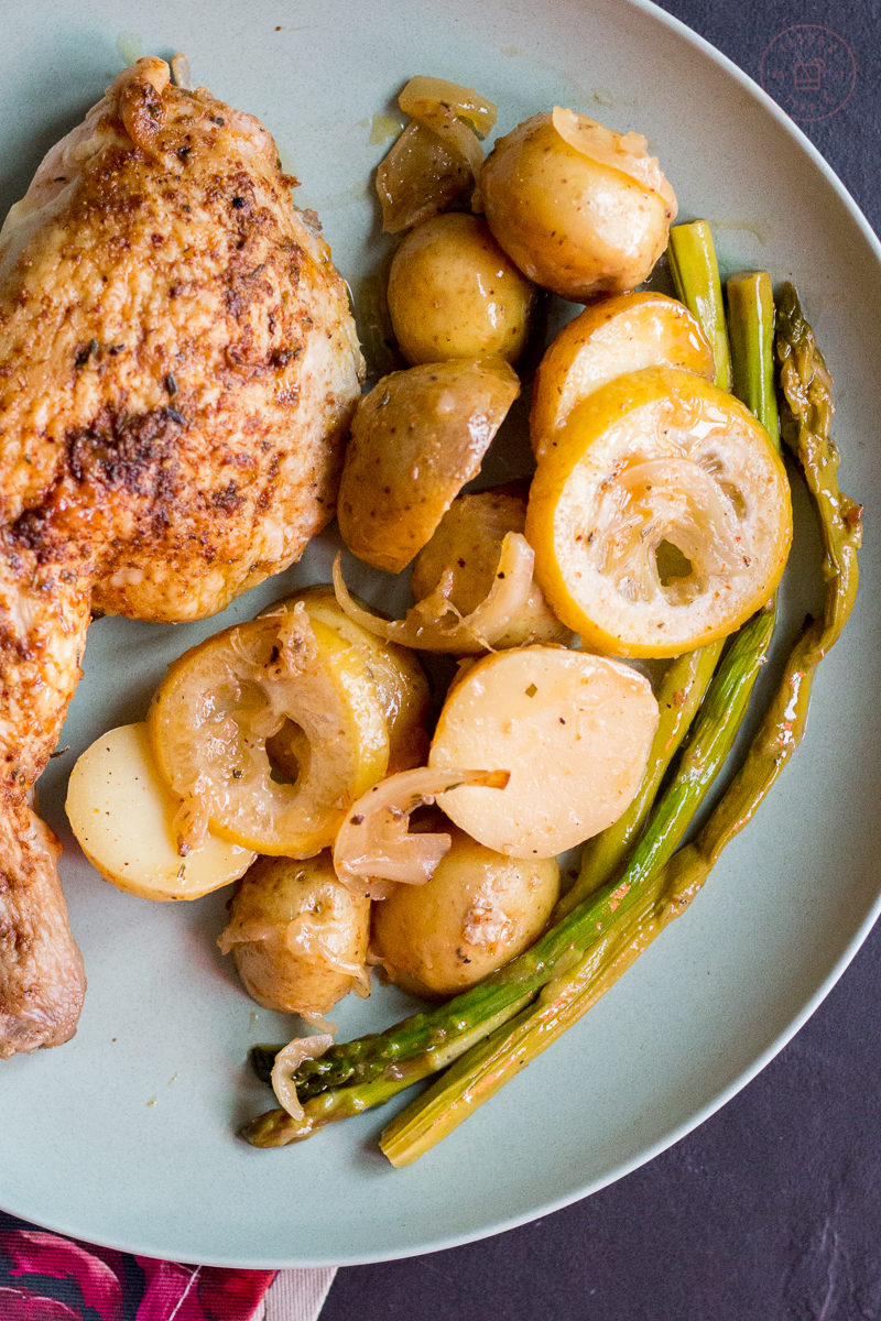One-Pot Greek Roast Chicken with Potatoes & Asparagus   Taste and Tipple